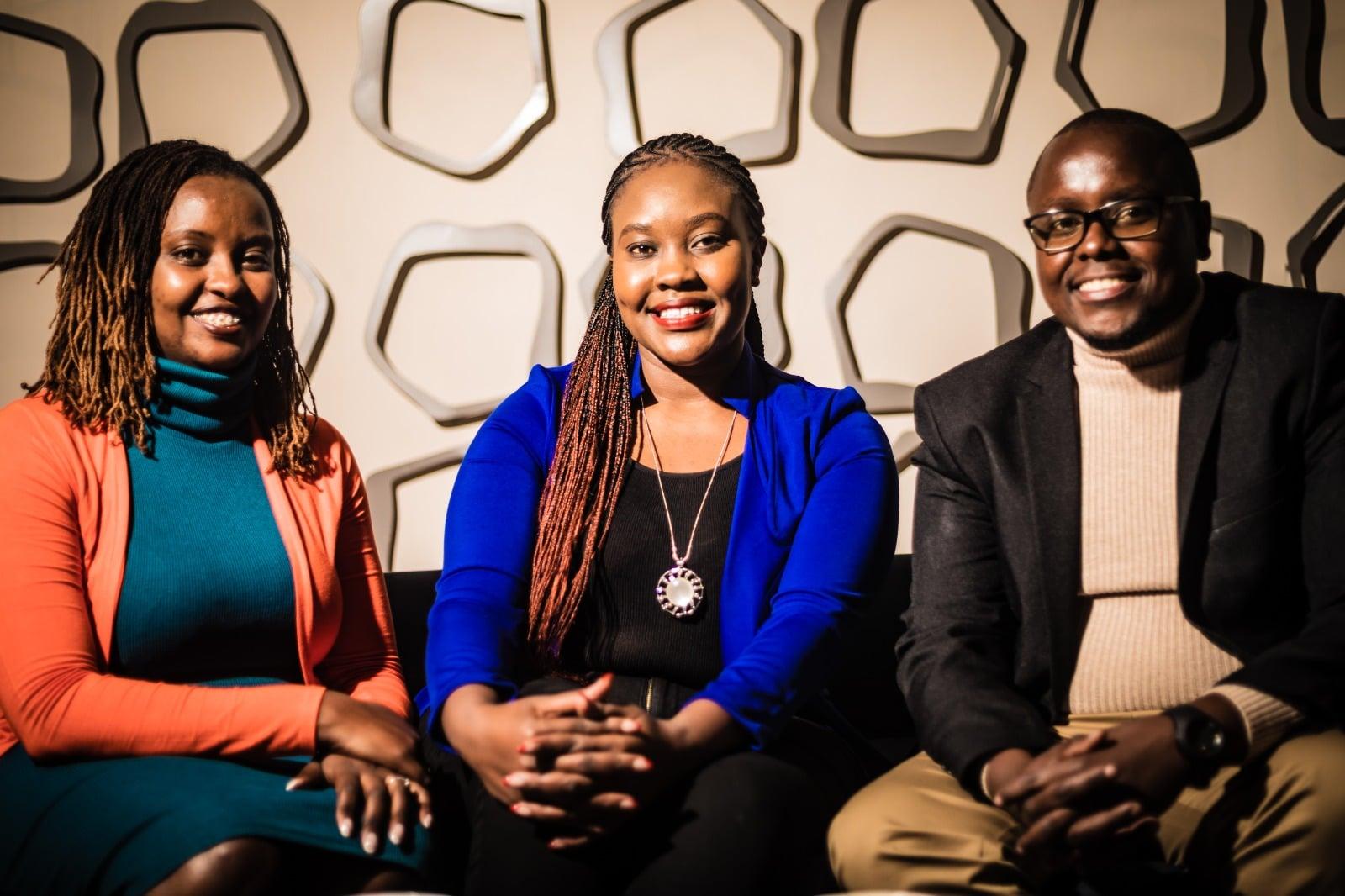 HR Leaders Ellina Kabiru and Joyce Nyakundi pose with HR Fireside chat moderator Boniface Mwalii